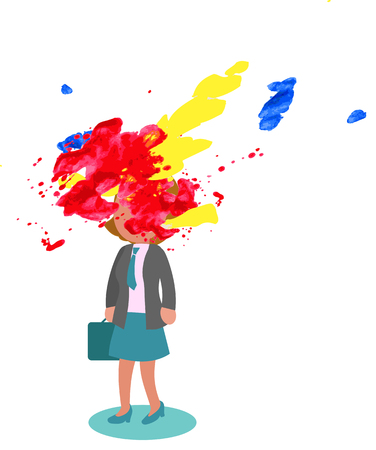Stressed businesswoman with exploded head, concept vector illustration
