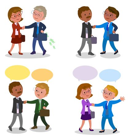 Pairs of managers shaking hands with speech balloons, vector illustration Illustration