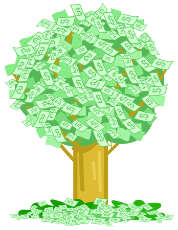 Green tree with a lot of money dollar notes, concept vector illustration