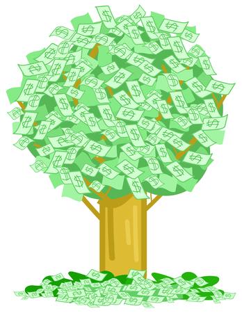 Arbre vert avec beaucoup de billets de dollar d'argent, illustration vectorielle de concept