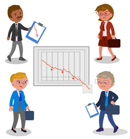 baton: Upset managers with bad report, vector illustration Illustration