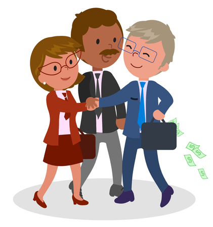 Three smiling managers shaking hands, vector illustration Illustration