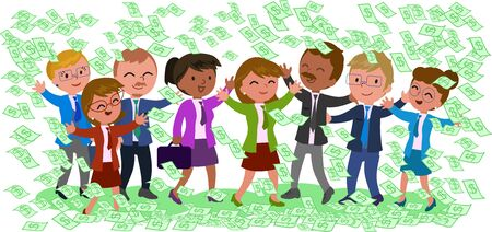 treaty: Rich business teamwork with a lot of dollar notes on white background, vector illustration Illustration
