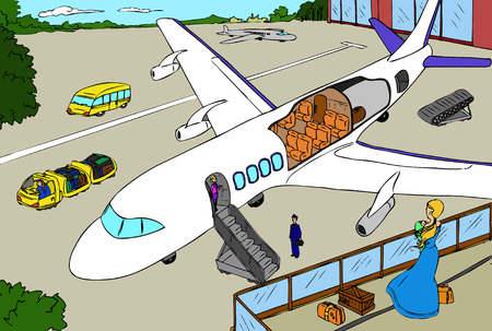 Digital illustration of airport and section of plane.