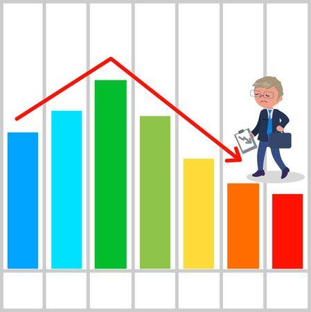 Upset manager with bad bar chart illustration.
