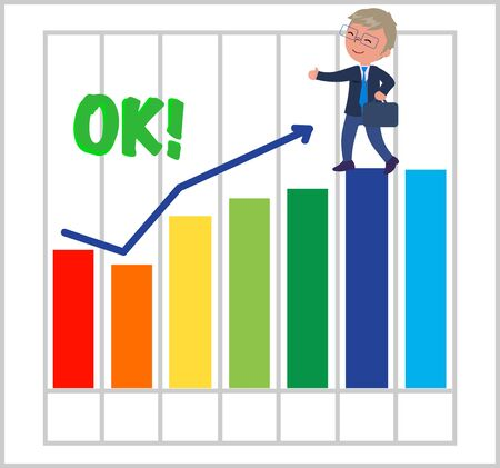 Successfull business with good bar chart illustration.