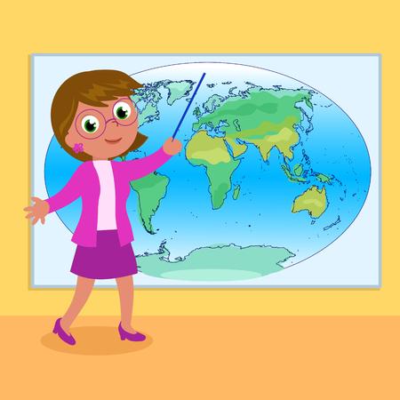Woman geography teacher with world map cartoon illustration
