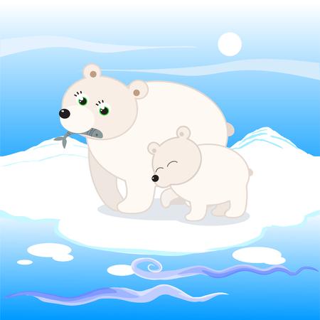 White bears at the north pole cartoon illustration