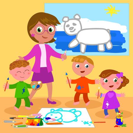 Cartoon teacher with school boys and girls, vector illustration