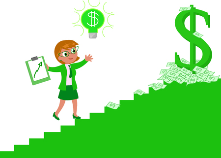 Business woman climbing the stairway of richness and wealth, vector illustration