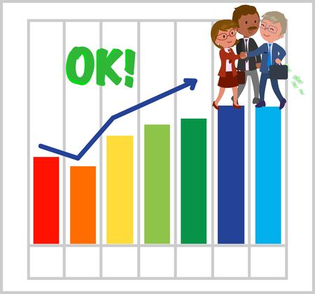 Success group of managers with good bar chart. Illustration