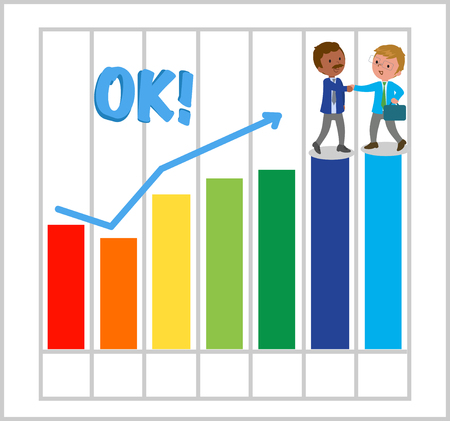 Success business men with good bar chart illustration.