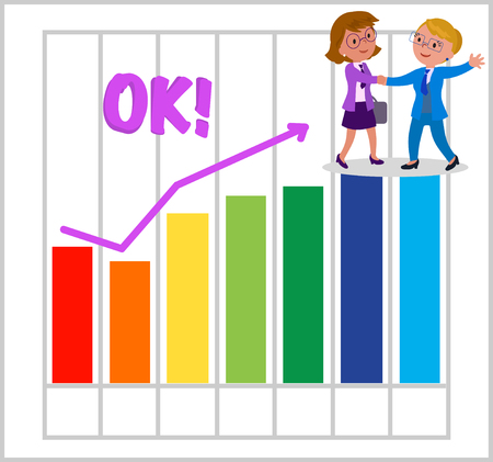 Success female managers with good bar chart illustration.