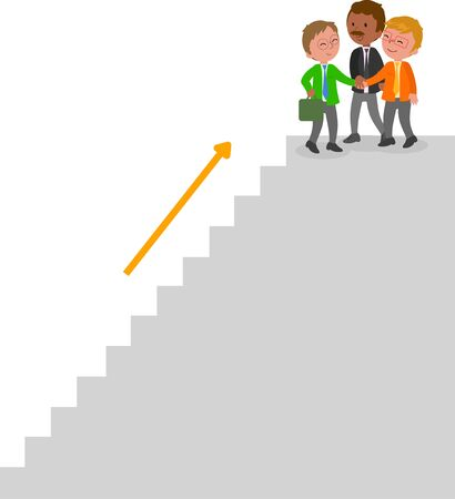 Three success managers climbing a staircase. Illustration