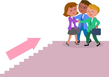 Three success female managers climbing a staircase. Illustration
