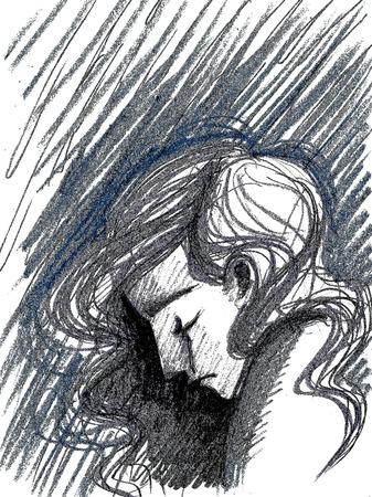 Profile of sad girl in tears, depression concept artwork