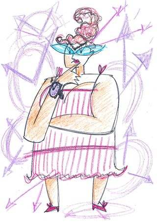 Fat time woman, concept illustration about time passing