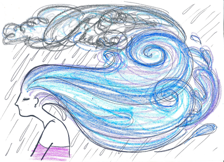 Profile of beautiful woman with rain hairs concept artwork
