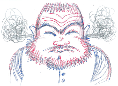 Exploding furious man with beard, concept illustration