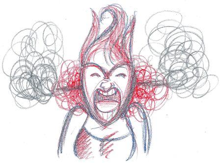 概念図を大声で叫んで猛烈な女性