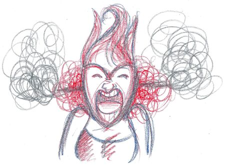 Furious woman yelling out loud, concept illustration
