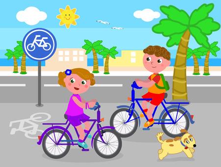 Cartoon children riding bikes on bicycle lane, vector illustration Illustration
