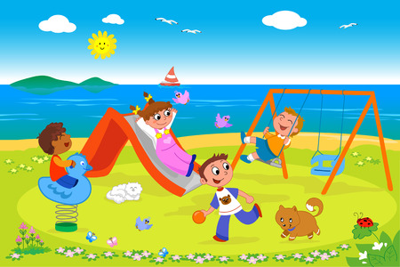 Cartoon illustration of kids playing together in a playground at the seaside