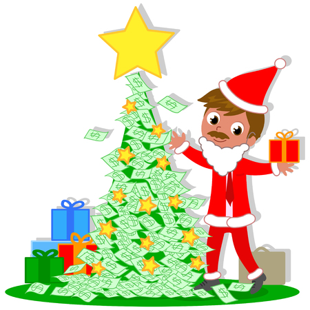 Manager Santa Claus with rich Christmas tree made of money notes, vector illustration Illustration