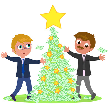 Two managers celebrating Christmas with rich tree made of money vector illustration