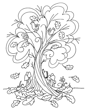 Tree in autumn with cute animals coloring vector