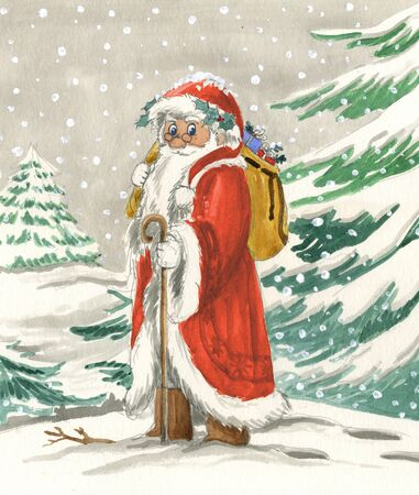 Santa Claus in Snowy Landscape Christmas illustration hand made with watercolors.