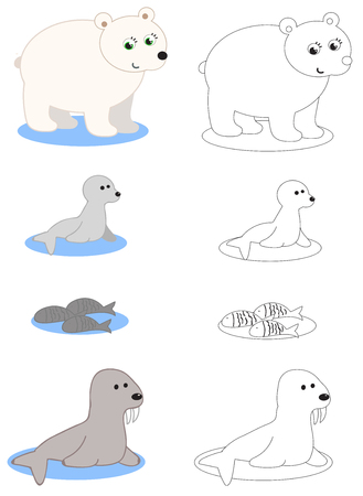 Artic animals polar bear, whale, fishes and walrus coloring vector