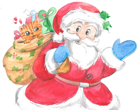 Santa Claus with gift sack and cute kitten, Christmas illustration hand made with watercolors. Stock Photo