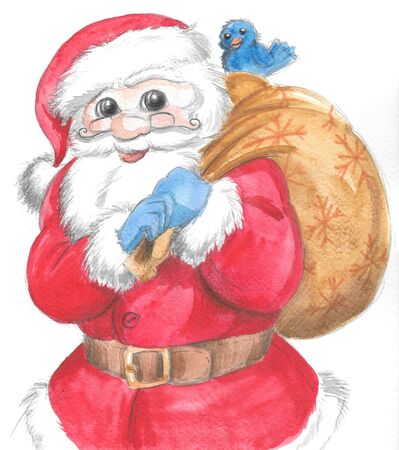 Santa Claus with gift sack and cute blue bird, Christmas illustration hand made with watercolors.