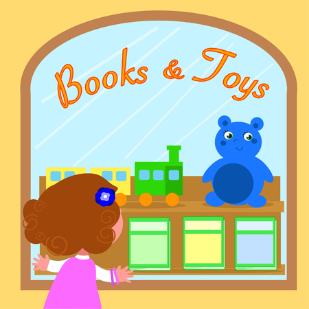 Cartoon girl looking at Books and Toys shop window, vector illustration