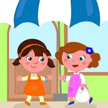 Cute cartoon girls meeting near a shop, vector illustration Illustration