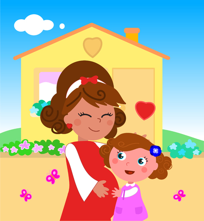 Cartoon cute pregnant mom and little girl, illustration. Illustration