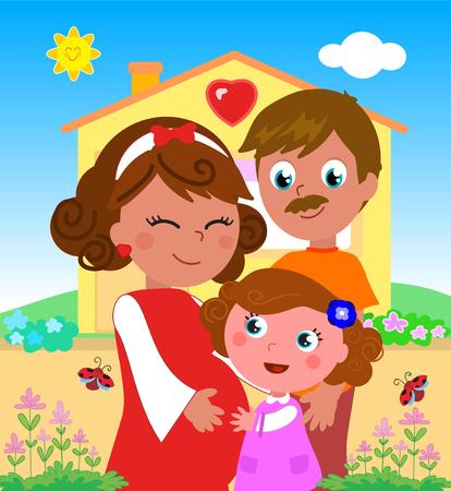 Beeldverhaal leuke zwangere moeder met rode kleding met papa en meisje dichtbij huis, vectorillustratie