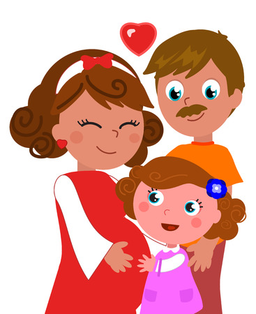 Cartoon cute pregnant mother with red dress with dad and girl, isolated vector illustration