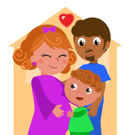 Cartoon ethnic family, pregnant mother with father and son. Illustration