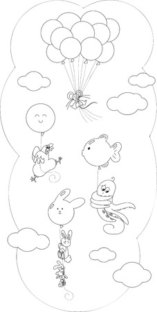 Cute animals flying in the sky with balloons, coloring vector Illustration
