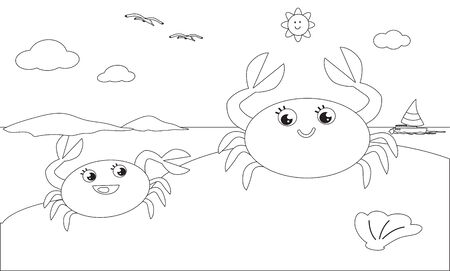 Black and white cartoon crab mom and child on the sand, vector illustration