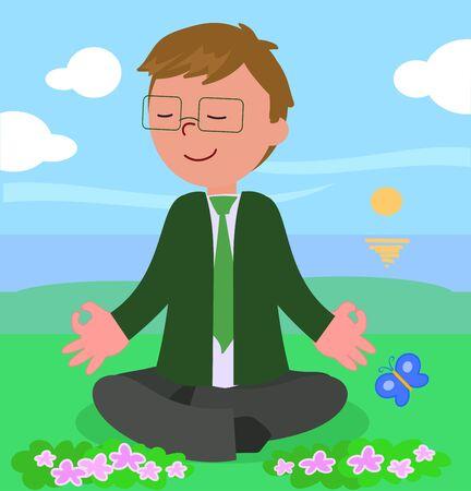 Manager in yoga meditation pose, vector illustration.
