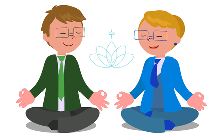 Two managers in yoga meditation pose, isolated vector illustration. Illustration