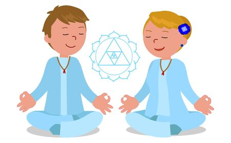 Man and woman in meditation pose vector illustration.