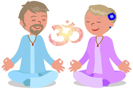 Mature man and woman in meditation pose with OM symbol illustration.