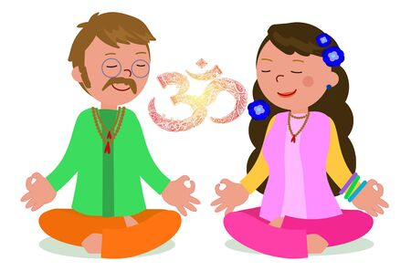 Hippies man and woman in meditation pose with OM symbol illustration. Illustration