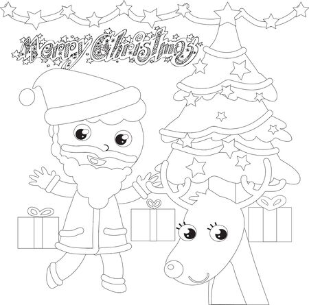 Santa Claus with Christmas tree and reindeer coloring vector illustration