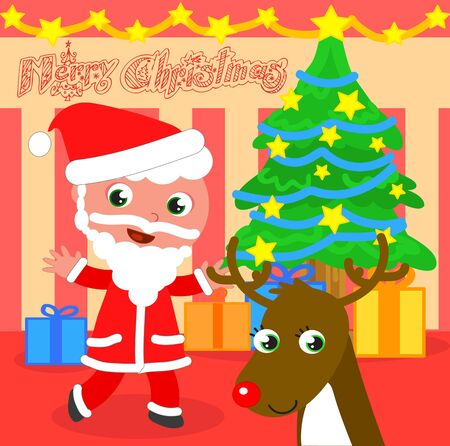 Santa Claus with Christmas tree and reindeer cartoon vector illustration