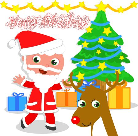 Santa Claus with Christmas tree and reindeer Isolated vector illustration